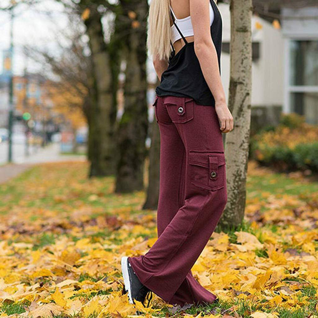 ANJUNIE Womens Stretchy Soft Trousers with Pocket Yoga Pants Casual Loose Pants for Running