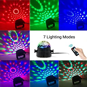 [2-Pack] Sound Activated Party Lights with Remote Control Dj Lighting, RBG Disco Ball Light, Strobe Lamp 7 Modes Stage Par Light for Home Room Dance Parties Bar Karaoke Xmas Wedding Show Club (Color: RGB)