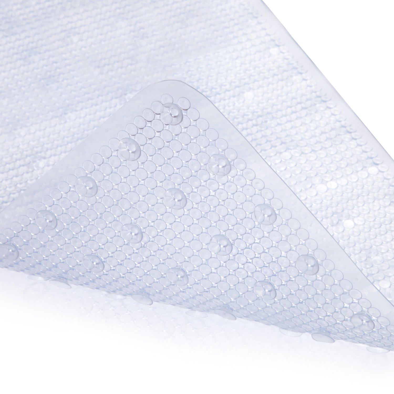 MAYSHINE Non-slip Mildew Resistant Anti-Bacterial Shower Mat (39''x16''), Machine Washable Extra Long Bathtub Mats - White