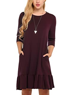 298e5fdcbe POSESHE Women s A-line Swing Midi Dress Long Sleeve Long Dresses at ...