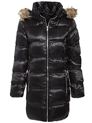 Amber Orchid Women's Puffer Parka Jacket Fur Hooded Quilted Padded Coat