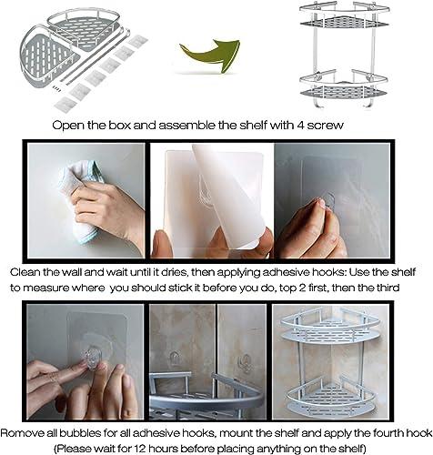 Lancher Bathroom Shelf No Drilling Durable Aluminum 2 Tiers Shower Shelf Kitchen Storage Basket Adhesive Suction Corner Shelves Shower Caddy