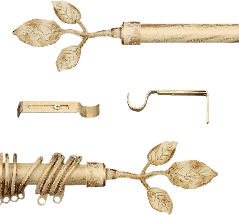 120-210 AT17 Tringle /à Rideaux Extensible Vintage Barre /à Rideaux Shabby Chic et Romantique Diam/ètre 2 cm M/étal Brun//Or