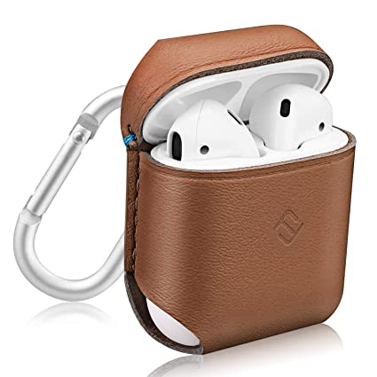 huge discount 01df0 47a71 Fintie AirPods Case, Genuine Leather [Slim Fit] Protective Portable Cover  Skin with Carabiner for Apple AirPods Charging Case (Brown)