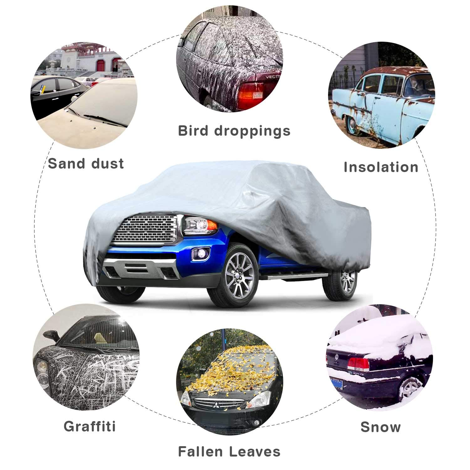 Leader Accessories Basic Guard 3 Layer Universal Fit Outdoor Car Cover Up To 157