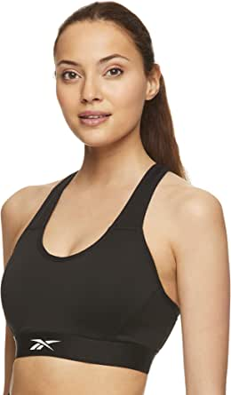 Reebok Women's Strappy Longline Sports Bra - Racerback Medium Impact Bralette w/Removable Cups