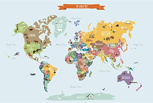 Simple Map Of The World Amazon.com: Simple Shapes Countries of The World Map Poster Wall
