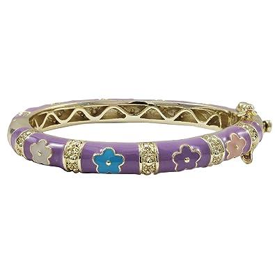 50-mm Ivy and Max Gold Finish Multi-Color Enamel Hearts Girls Bangle Bracelet