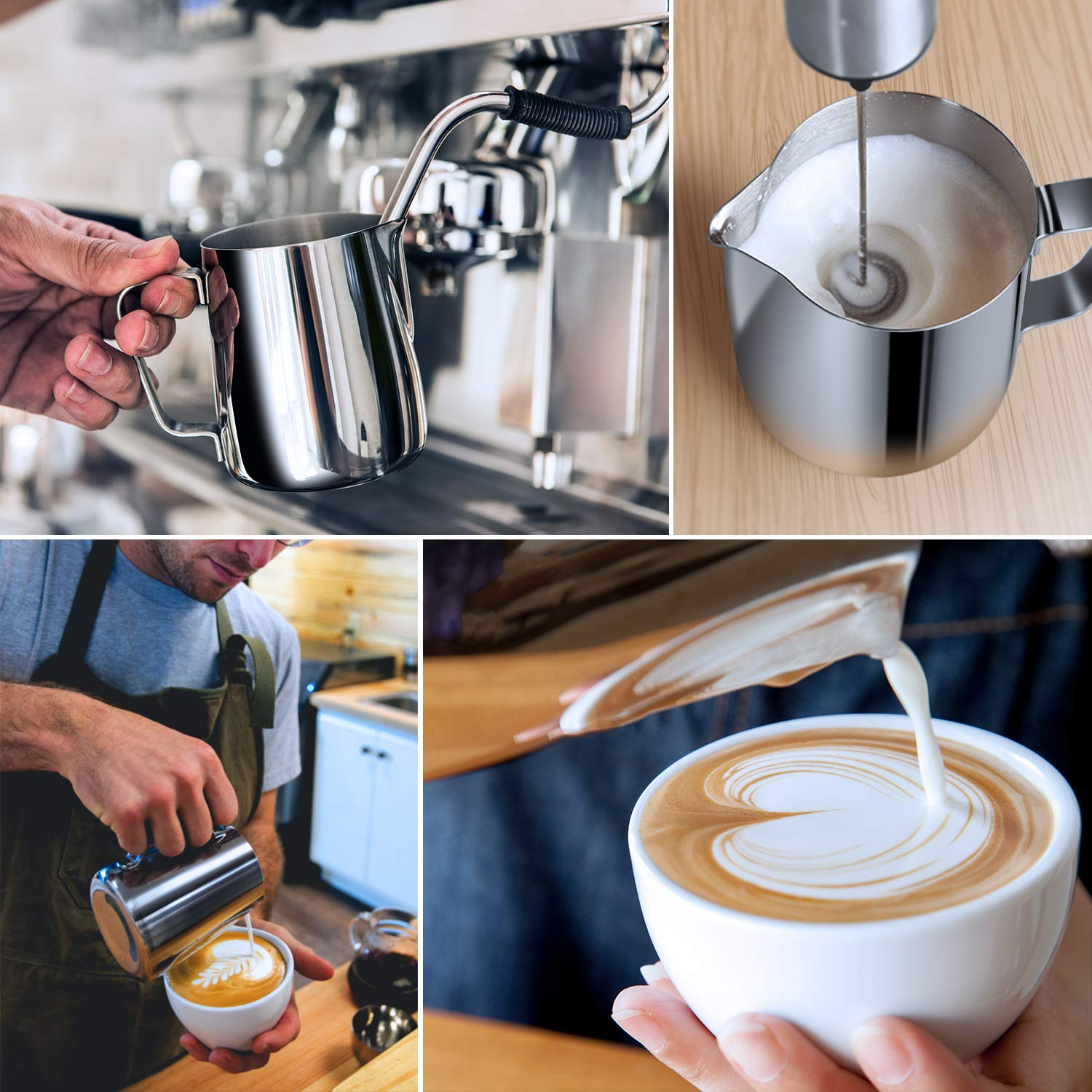 Milk Frothing Pitcher 600ml/350ml/900ml (20oz/12oz/32oz) Steaming Pitchers Stainless Steel Milk/Coffee/Cappuccino/Latte Art Barista Steam Pitchers Milk Jug Cup with Decorating Art Pen, Latte Arts by Adorever (Image #5)