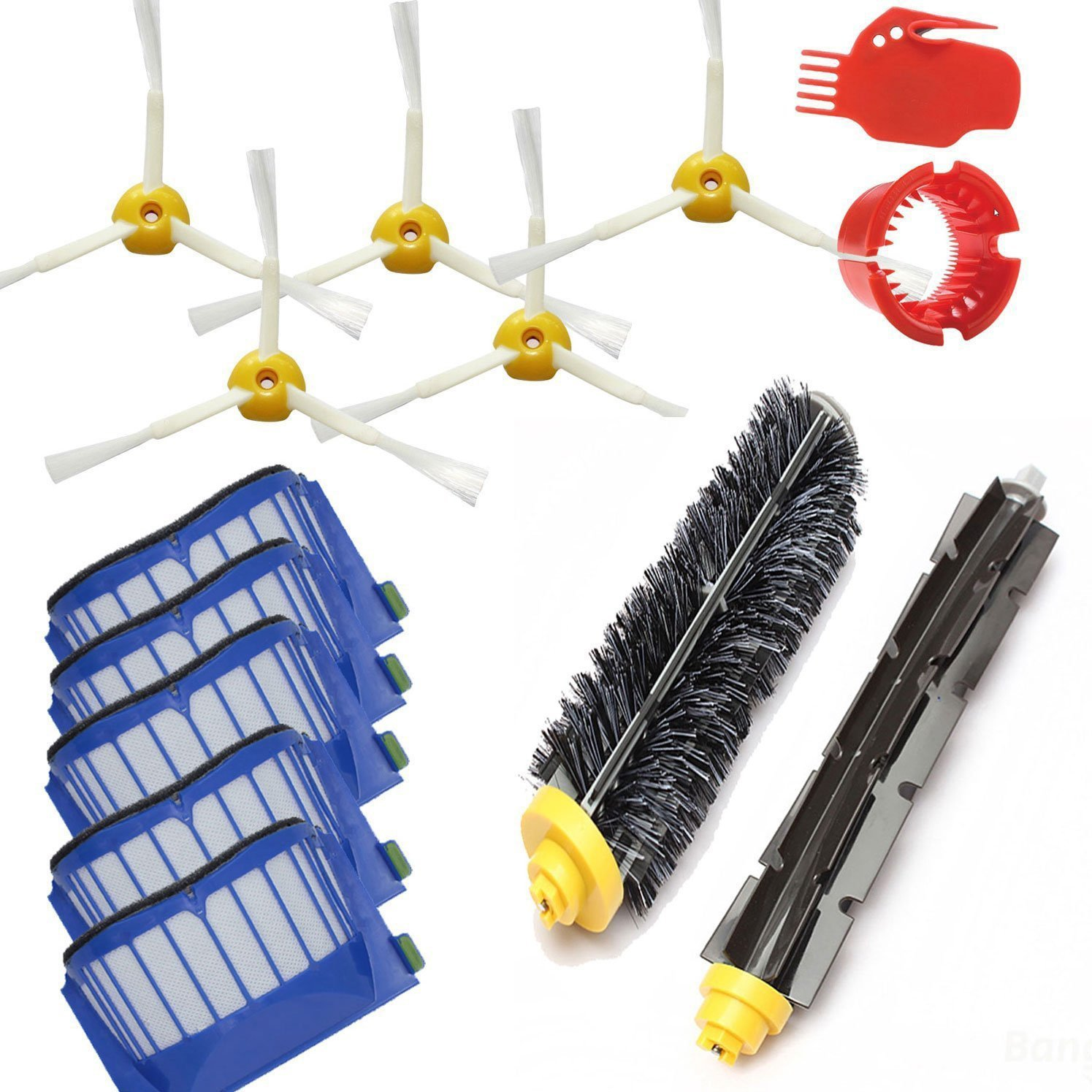 LOVE(TM) AeroVac Filter Hair Brush kit and Side Brush Cleaning Tool for Robot 600 Series 595 620 630 650 660 Vacuum Cleaner Accessories