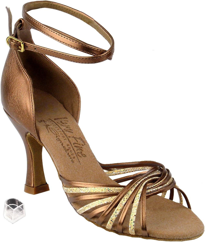 とてもFineレディース社交ダンスシューズeks1001 3 cmヒール ゴールド Scale & Dark Tan ゴールド 9 M US