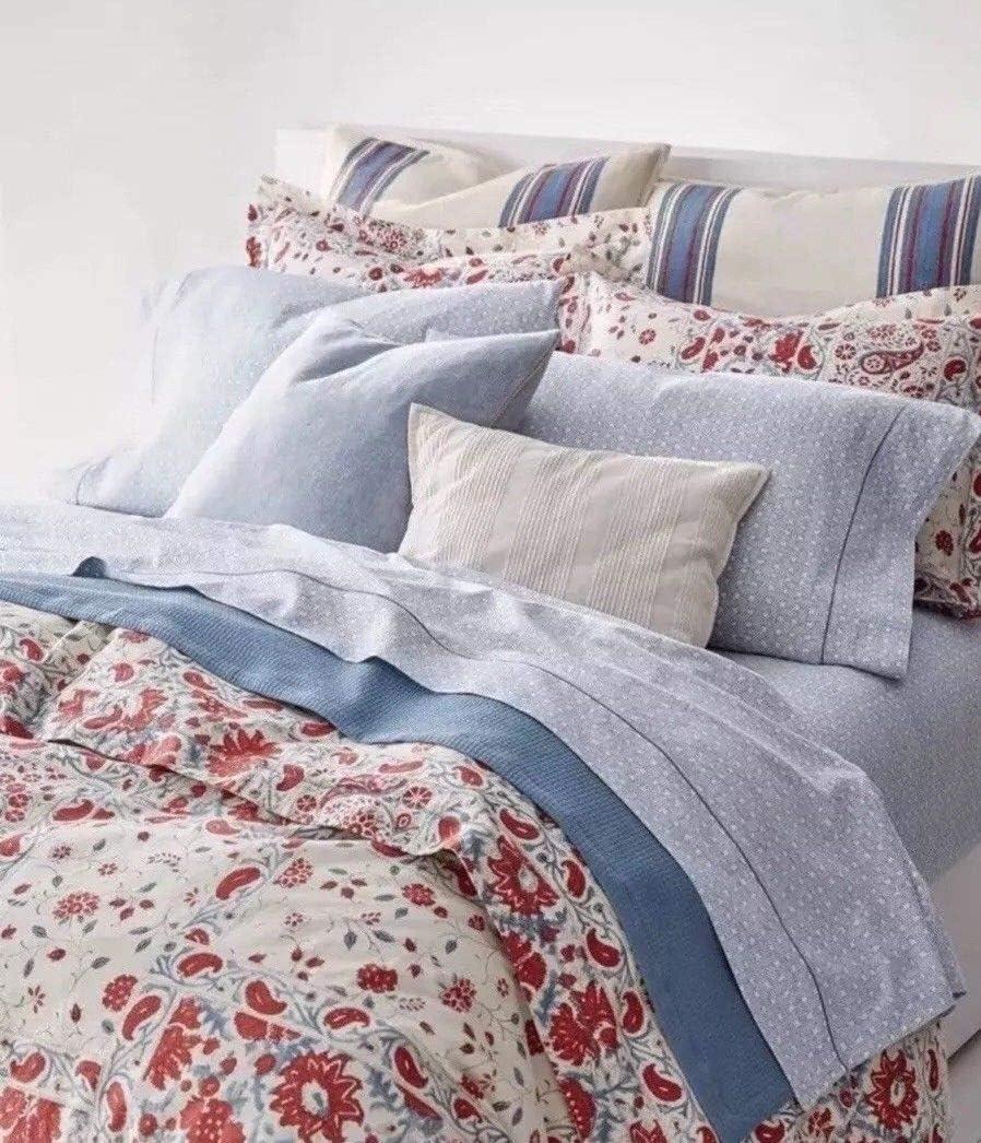 Ralph Lauren Spencer - Juego de sábanas (satén, algodón), color azul: Amazon.es: Hogar