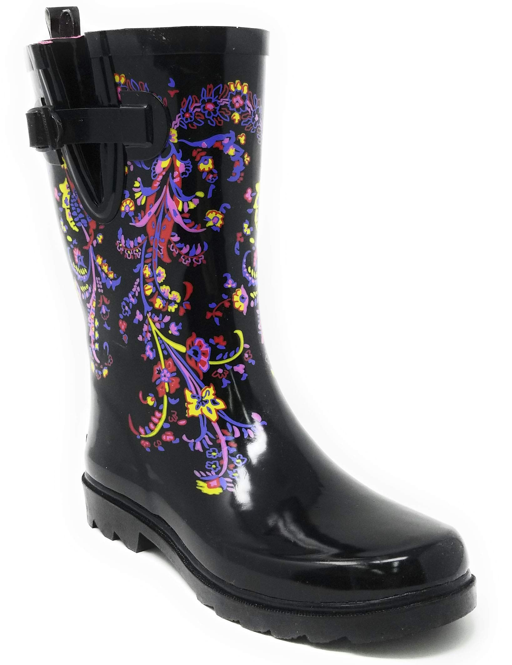 Forever Young Women Rubber Rain Boots Mid-Calf 11'' Classic Waterproof Lotus Designs Wellies,9