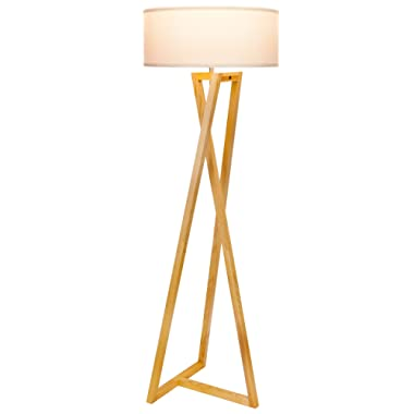 Brightech Z  Wood Tripod Rustic Floor Lamp - Mid Century Modern, Standing LED Light for Living Rooms - Tall Lighting for Contemporary Bedrooms & Offices