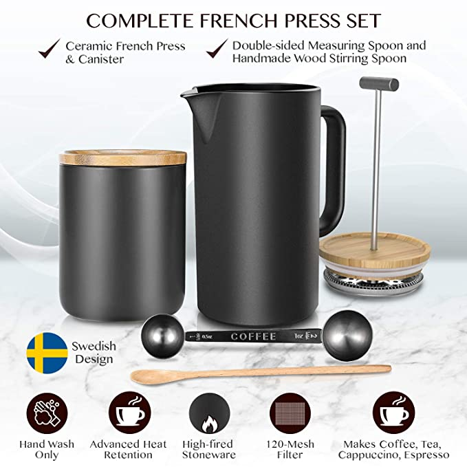 Amazon.com: Ceramic French Press Coffee Maker/Coffee Plunger/Coffee Press (20 oz.) with Grounds Canister | Non-Porous Stoneware | Complimentary Measuring ...