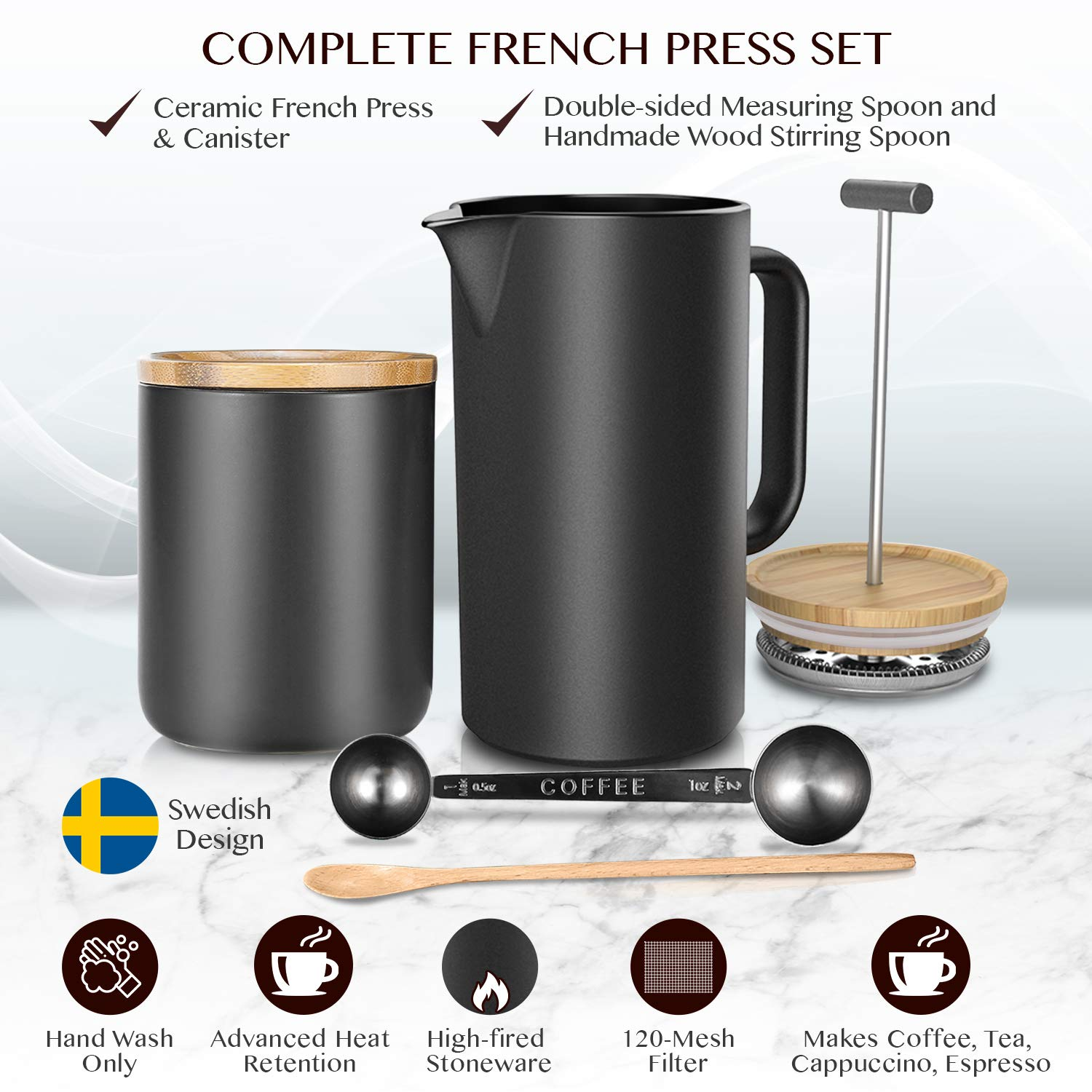 Ceramic French Press Coffee Maker/Coffee Plunger/Coffee Press (24 oz.) with Grounds Canister | Non-Porous Stoneware | Complimentary Measuring & Stirring Spoons by NEOCASA (Image #2)