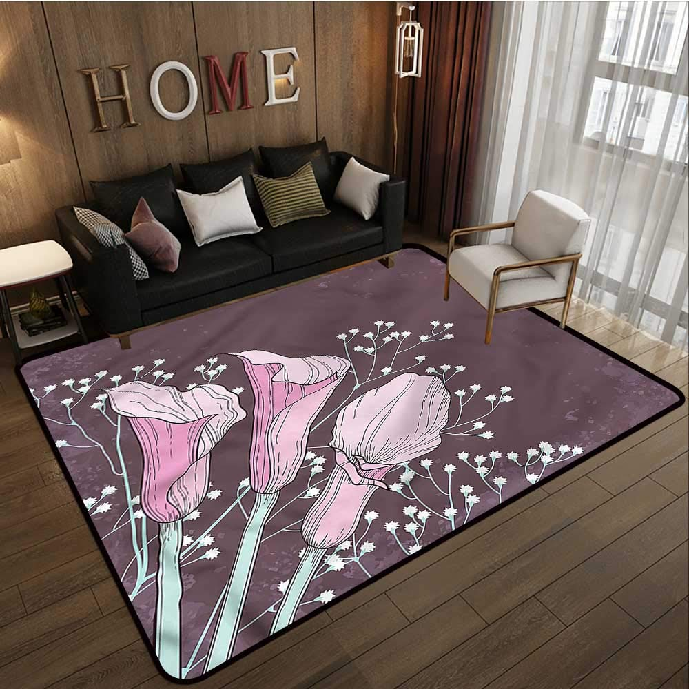 """B07SKHS43K Floral,Dining Table Rugs 80\""""x 96\"""" Worn Out Summer Petals Calla Bath Rugs 616IW4fJcPL._SL1000_"""