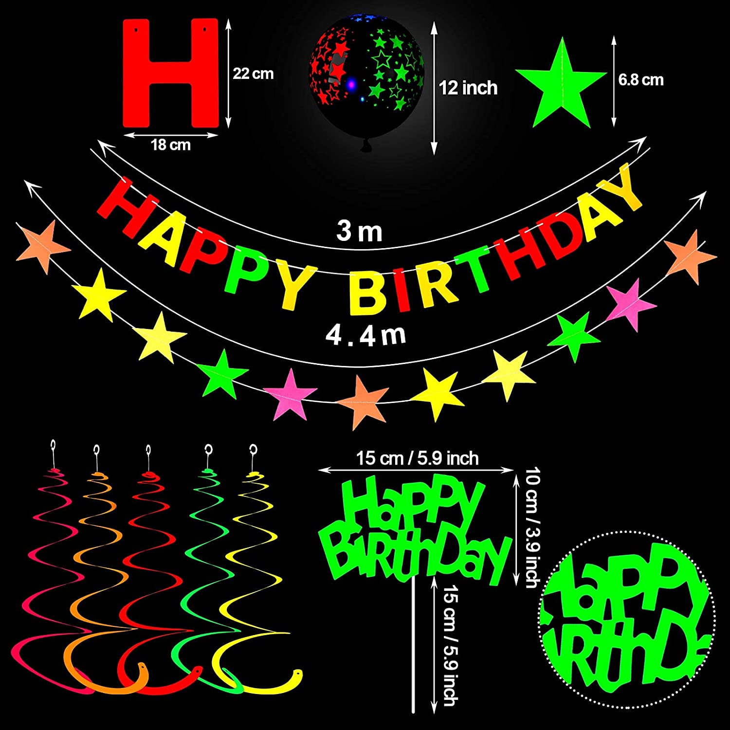 47 Pieces Glow Neon Party Supplies Neon Birthday Party Decorations ...