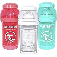 Twistshake Biberón Anti-Cólico, Multicolor, 6 Oz, Paquete de 3