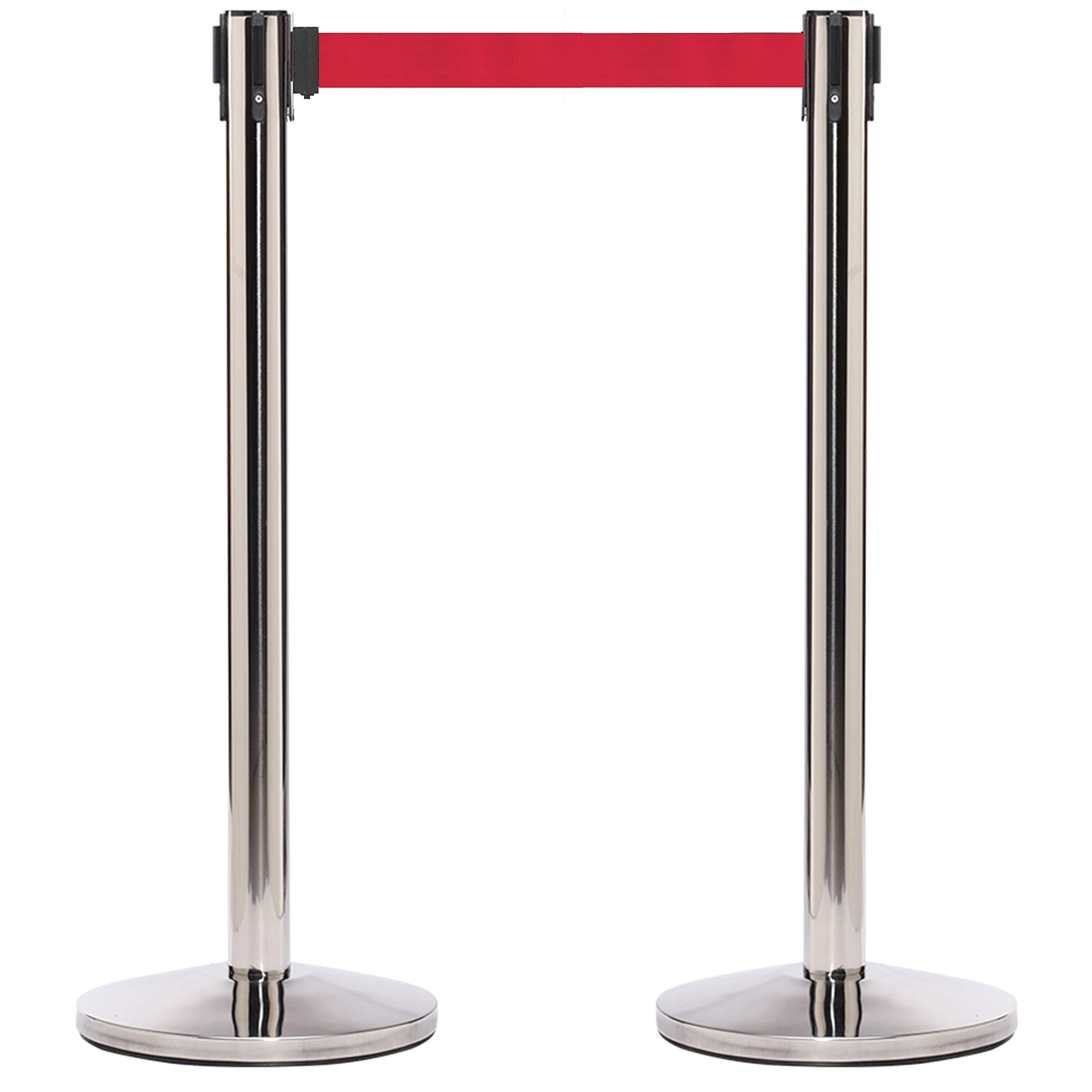 CCW Series RBB-100 Polished Stainless Steel Stanchion Retractable Belt Barrier with 12 Ft. Red Belt - Easy to Assemble, No Tools Required (Set of 2)