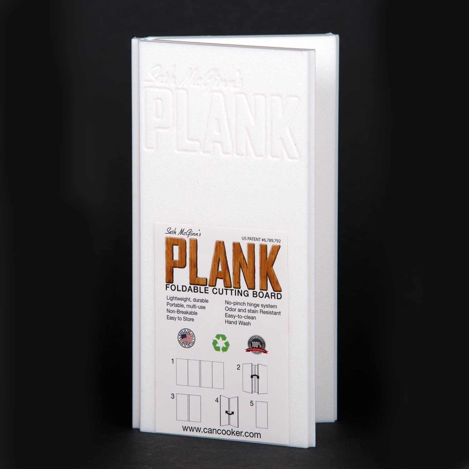 CanCookerSMP1409Plank Foldable Plastic Cutting Board 9 x 19, White