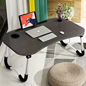 Laptop Bed Tray Table, Astory Portable Laptop Desk Lap Tablet with Foldable Legs&Cup Slot, Multifunctional Notebook Stand Reading Holder for Eating Breakfast, Reading Book, Watching Movie on Bed/Couch