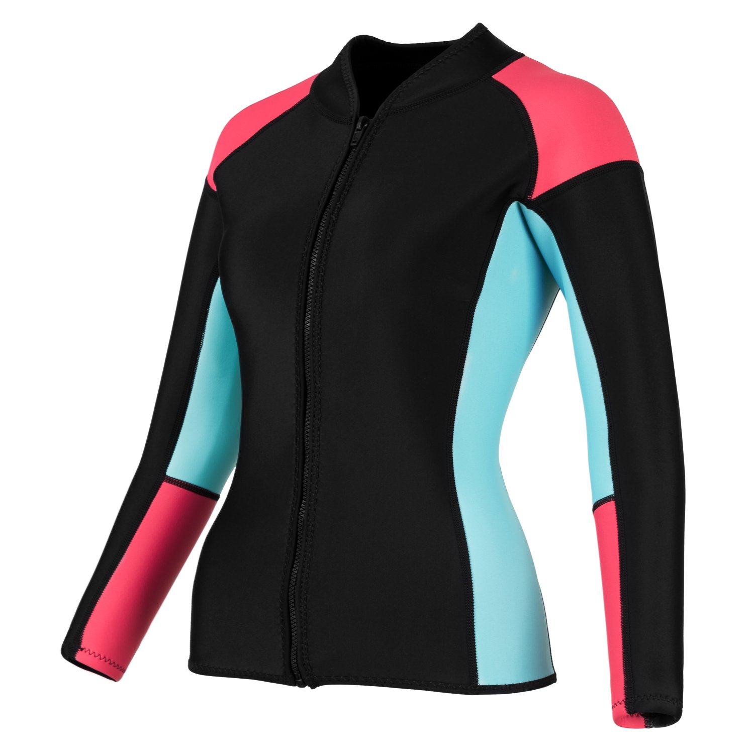 EYCE DIVE & SAIL Women's 3/2 mm Wetsuits Jacket Long Sleeve Neoprene Wetsuit Top (Coral/Blue, S = US 2)