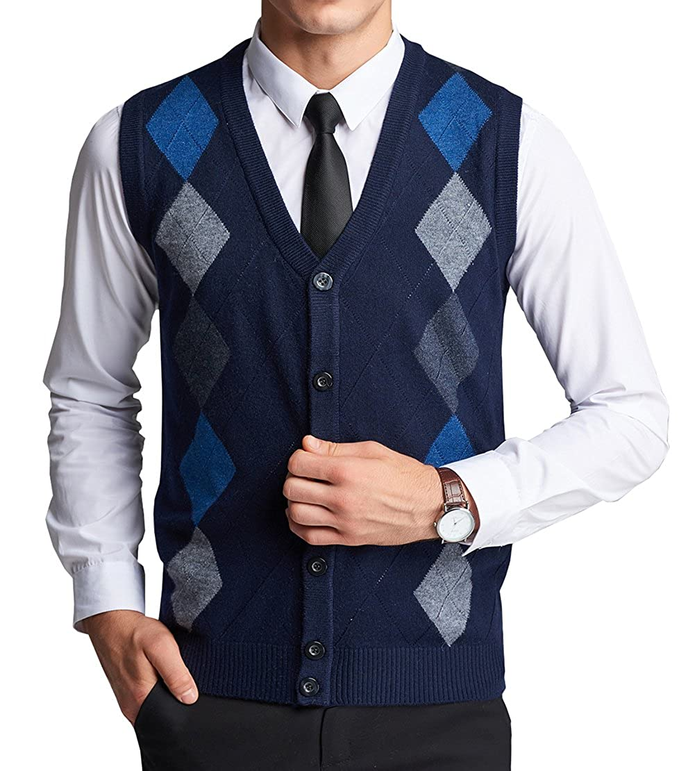 FULIER Mens Wool V-neck Gilet Sleeveless Vest Waistcoat Classic Gentleman Knitwear Cardigans Knitted Sweater Tank Tops With Buttons
