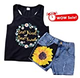 Mari Cias Baby Girl Clothes, Toddler Kids Baby Girl Sleeveless T-Shirt + Denim Shorts