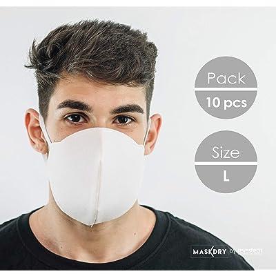 Pack 10 mascarillas higiénicas lavables 2 gomas. Talla L. Fabricadas en España Hasta 5 lavados.