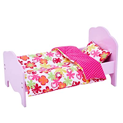 "Olivia's Little World - Little Princess 18"" Eco- friendly , fits American Girls Dolls , Wooden Doll Classic Single Bed Yellow & Bedding Set-Summer Flower , Yellow: Toys & Games"