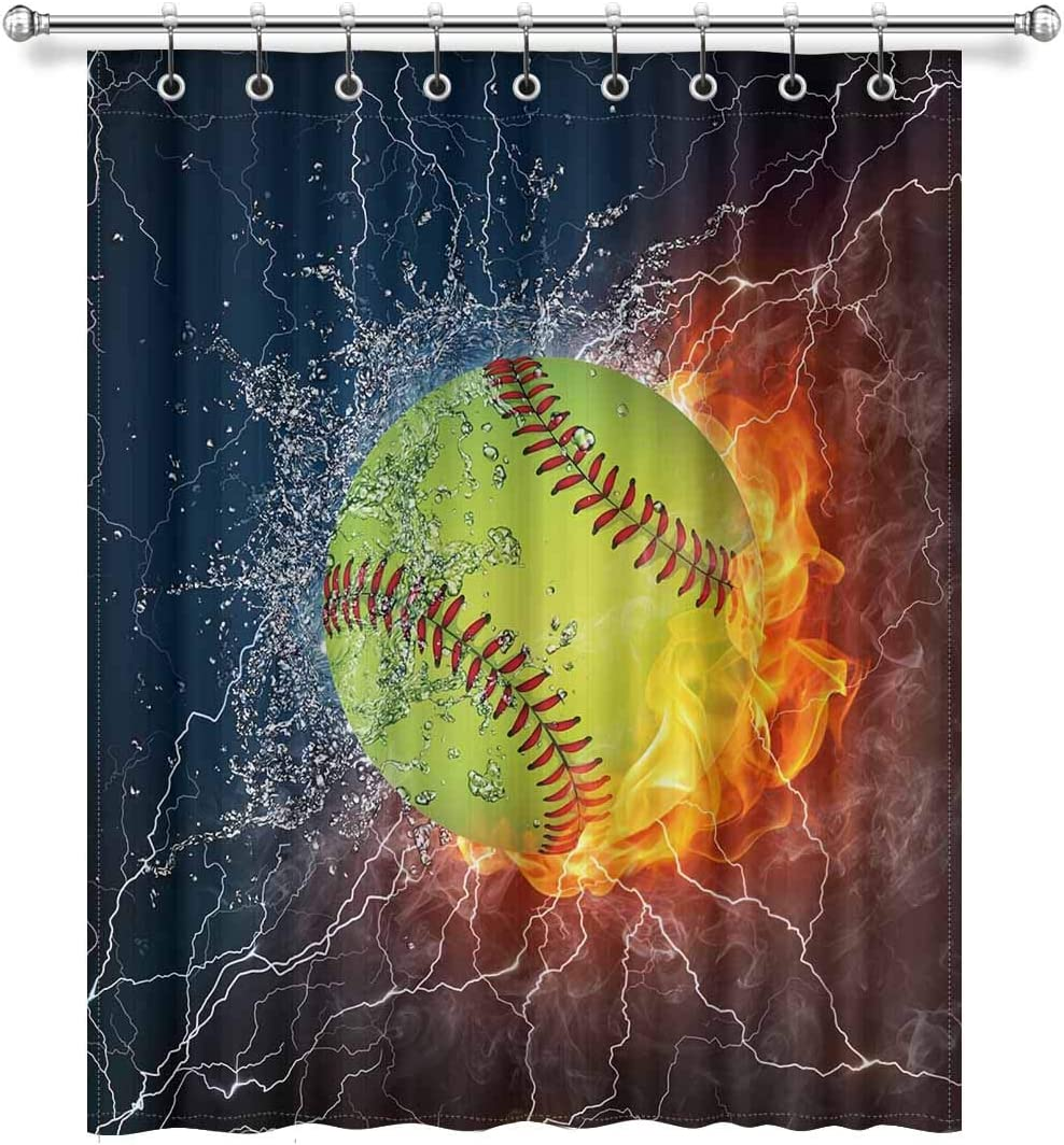 InterestPrint Cool Softball Ball in Fire and Water Blackout Room Darkening Curtains Window Panel Drapes with Hooks - 1 Panel - 52 inch Wide by 63 inch Long
