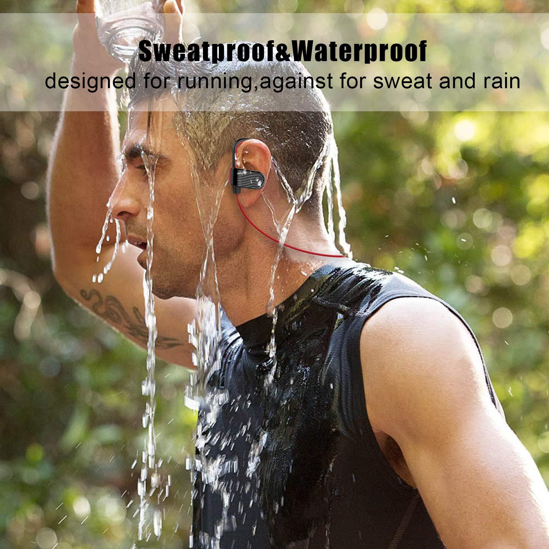 Bluetooth Headphones HiFi Stereo Sweatproof in-Ear Earbuds for Running Gym Workout 8 Hour Noise Cancelling Headsets Black-Red Best Waterproof Wireless Sport Earphones w//Mic,Bluetooth 5.0
