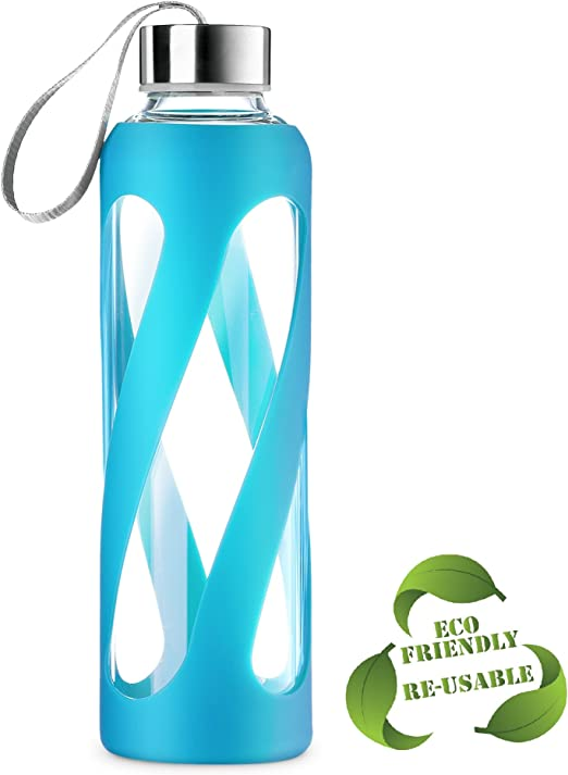 Glass Water Bottle with Silicone Sleeve for Sport Drinking Glass Bottles BPA Free Durable Leak-Proof Non-Slip Dishwasher Safe 24 Ounce