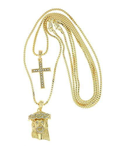 f6245d70766 NYFASHION101 2 Piece Cross & Jesus Gold Tone Micro Pendant Set with 2mm Box  Chains