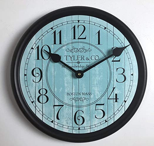 Harbor Turquiose Wall Clock, Available in 8 Sizes, Most Sizes Ship 2-3 Days, Whisper Quiet.