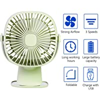 USB Table Fan Clip on & Desk Personal Fan, LED Lamp Function, 360 Degree Rotation, 3 Speeds Adjustable, Rechargeable Battery Electric Fan for Car, Stroller, Office, Bedroom, Traveling, Fishing
