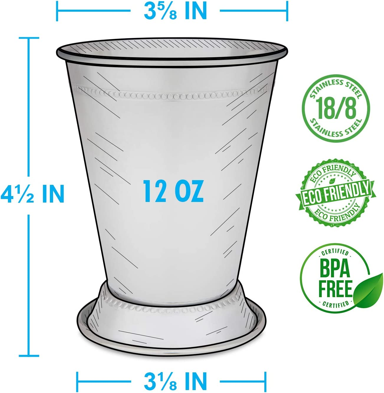 Derby Party Supplies Set of 2 OR 4 Metal 12 oz Cocktail Glasses Mint Julep Cups: Stainless Steel Kentucky Derby Glasses