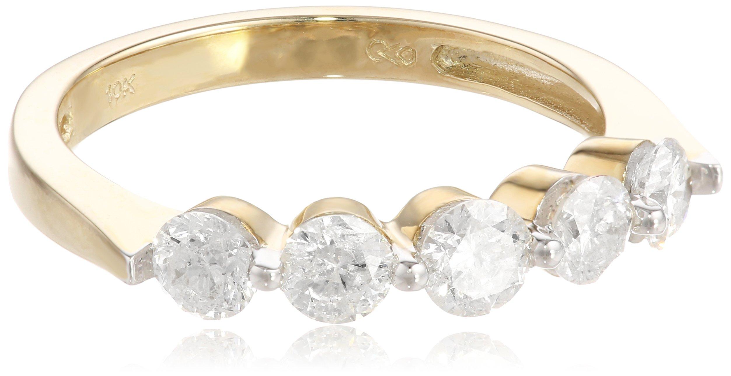 10k White Gold 5-Stone Diamond Ring (1 cttw, H-I Color, I2-I3 Clarity), Size 8
