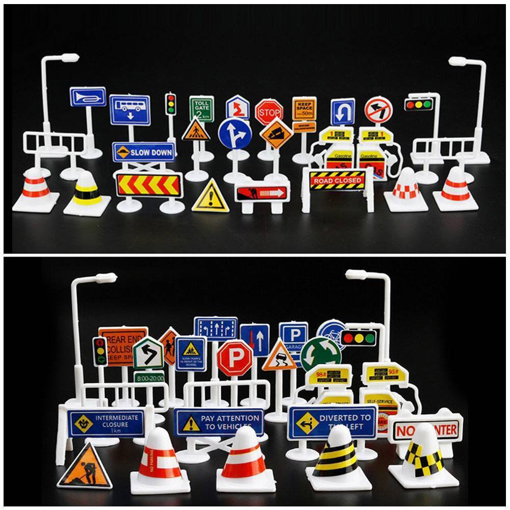 Wenini 28 Pcs Traffic Road Signs Educational Toys, Car Toy Accessories Traffic Road Signs Kids Children Play Learn Toy Game (A) by Wenini (Image #4)