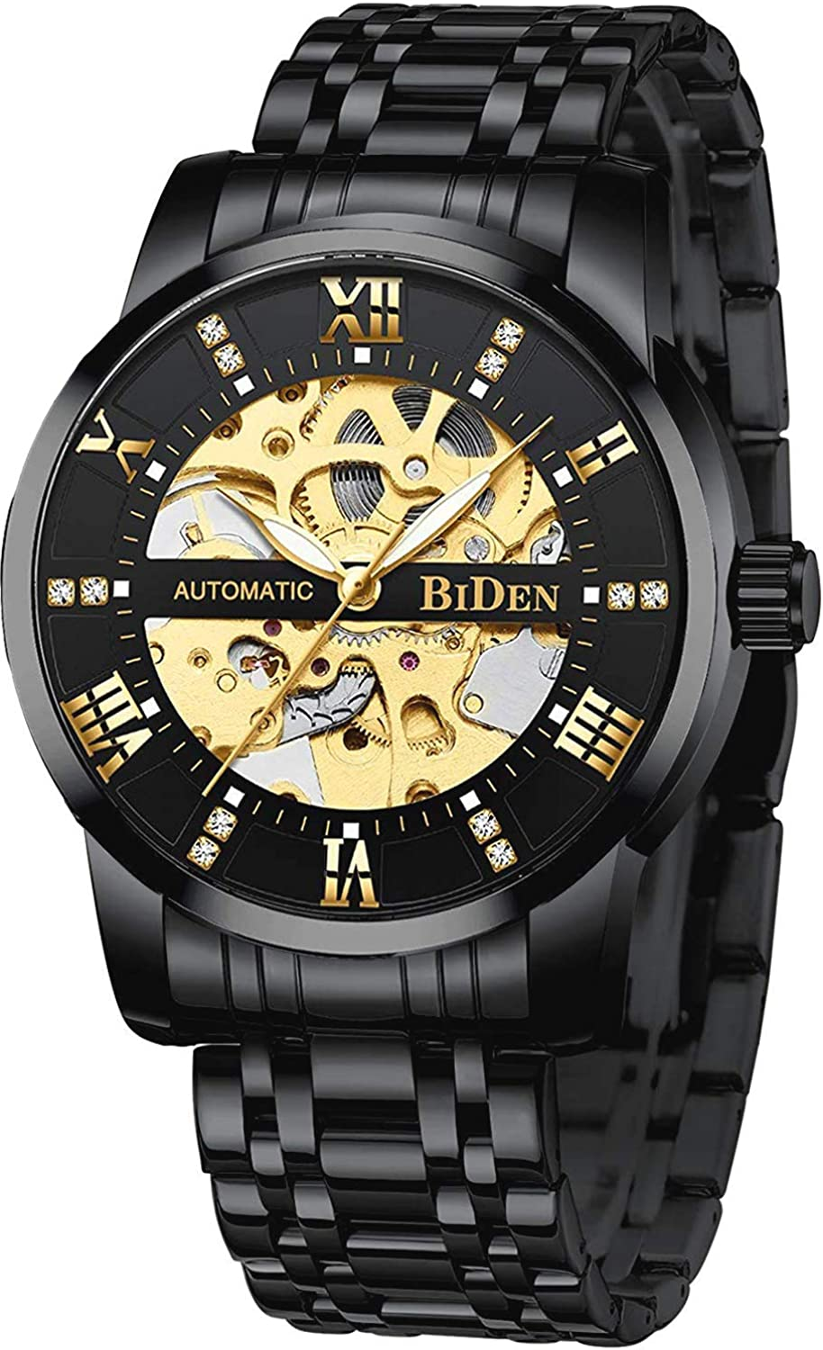 Mens Watches Mechanical Automatic Self-Winding Stainless Steel Skeleton Luxury Waterproof Diamond Dial Wrist Watches for Men