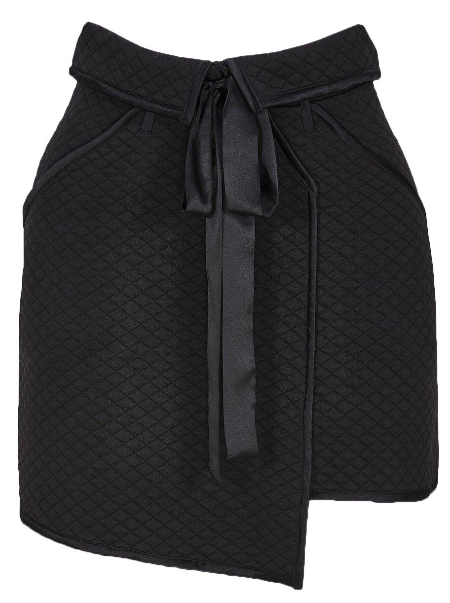 For Love & Lemons Women's Andi Quilted Mini Skirt In Black, XS