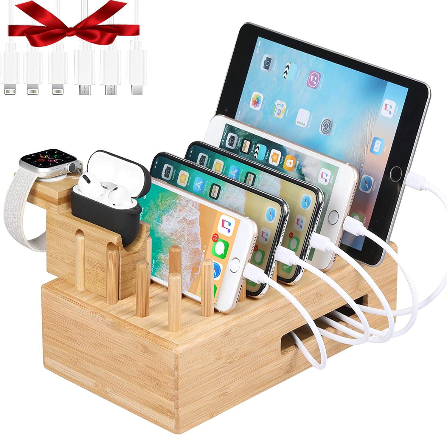 Darfoo Charging Station for Multiple Devices - Bamboo Charging Dock with 7 USB Ports, 6 Mixed Cables & Watch-Airpod Pro Stand for Cell Phones, Tablets, iWatch, Airpods Pro
