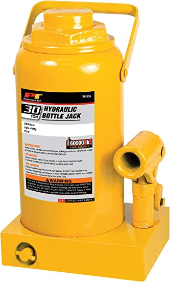 Heavy Duty Hydraulic Bottle Jack 16,000 lbs. Performance Tool W1628 8-Ton