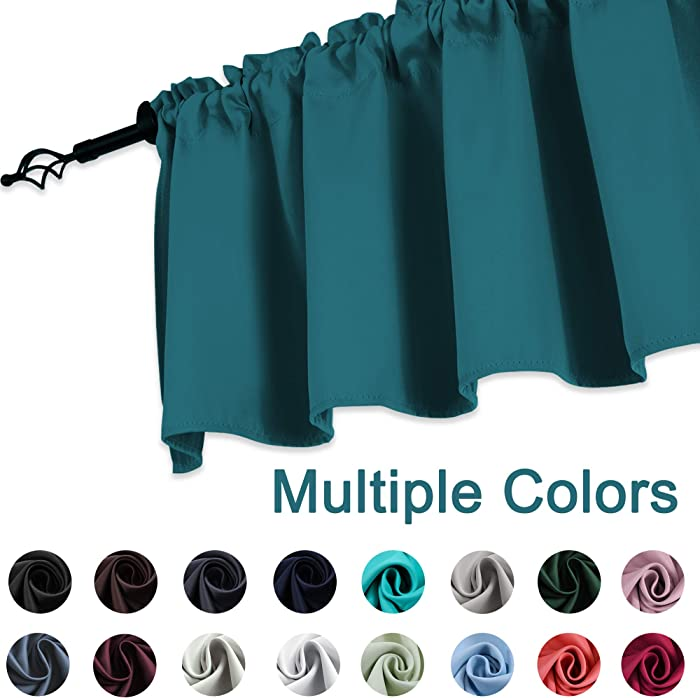KEQIAOSUOCAI Teal Valances 18 Inch Blackout Window Valances Curtains for Kitchen Bedroom Living Room 52 Inches Wide by 18 Inches Long 1 Panel
