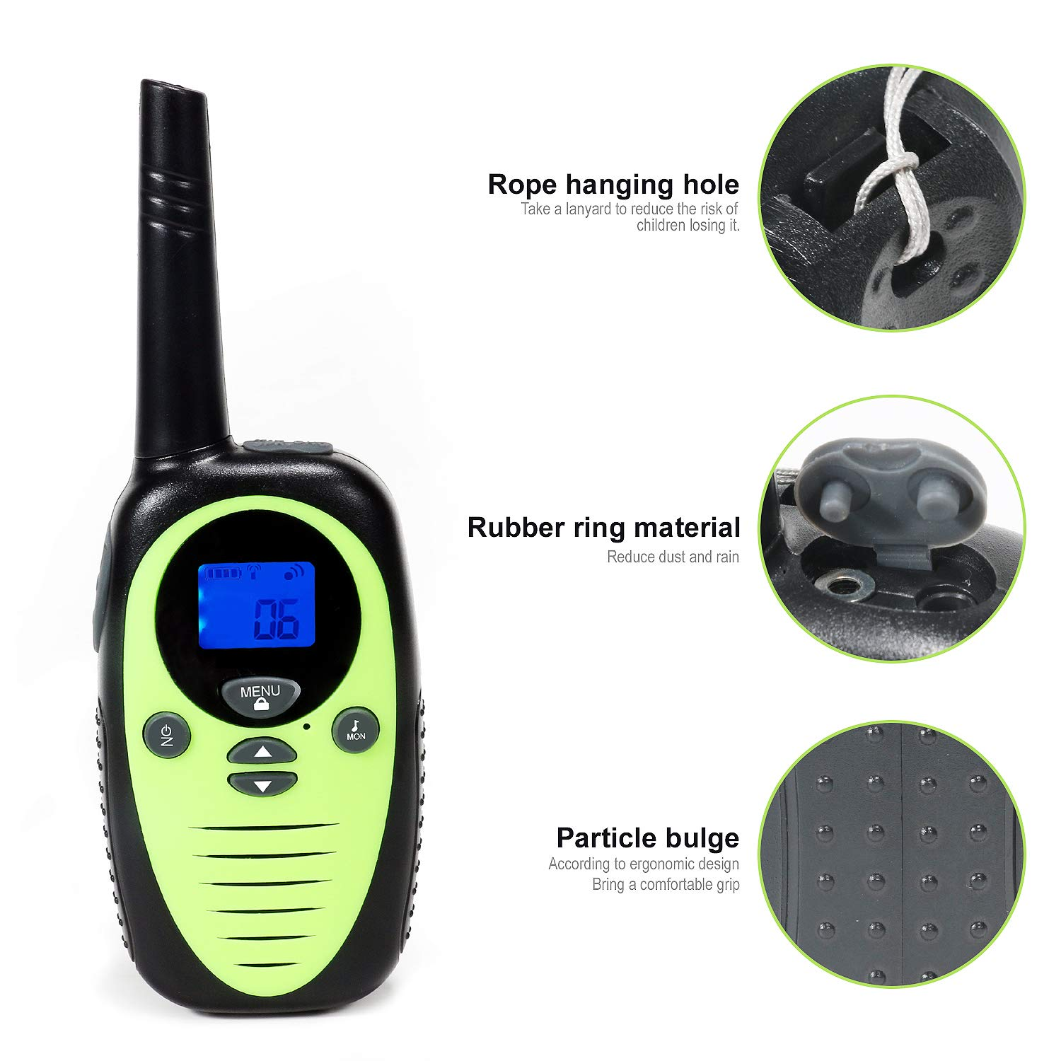 FREE TO FLY Kids Walkie Talkies Kid Toys 22 Channel FRS 2 Way Radios Party Toys for Camping/Hiking/Adventures 3.0 Miles Range Suit 6 UP Year Old Kids & Adults ( Three Packs with 9 Batteries ) by FREE TO FLY (Image #5)