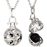 """ALUCKY Aromatherapy Essential Oil Diffuser Necklace for Women with 24"""" Stainless Steel Chain and 2 Lava Stones- Perfect Gift"""