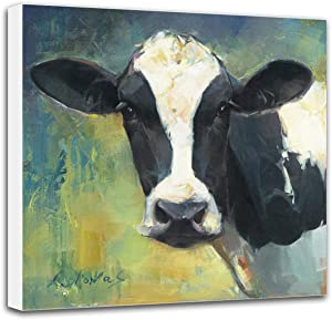 Cow Pictures Wall Decor Canvas, 12x12 inch Cow Original Painting Print, Wall Decor Gifts for Kitchen Living Room, Gallery Wrapped Stretched