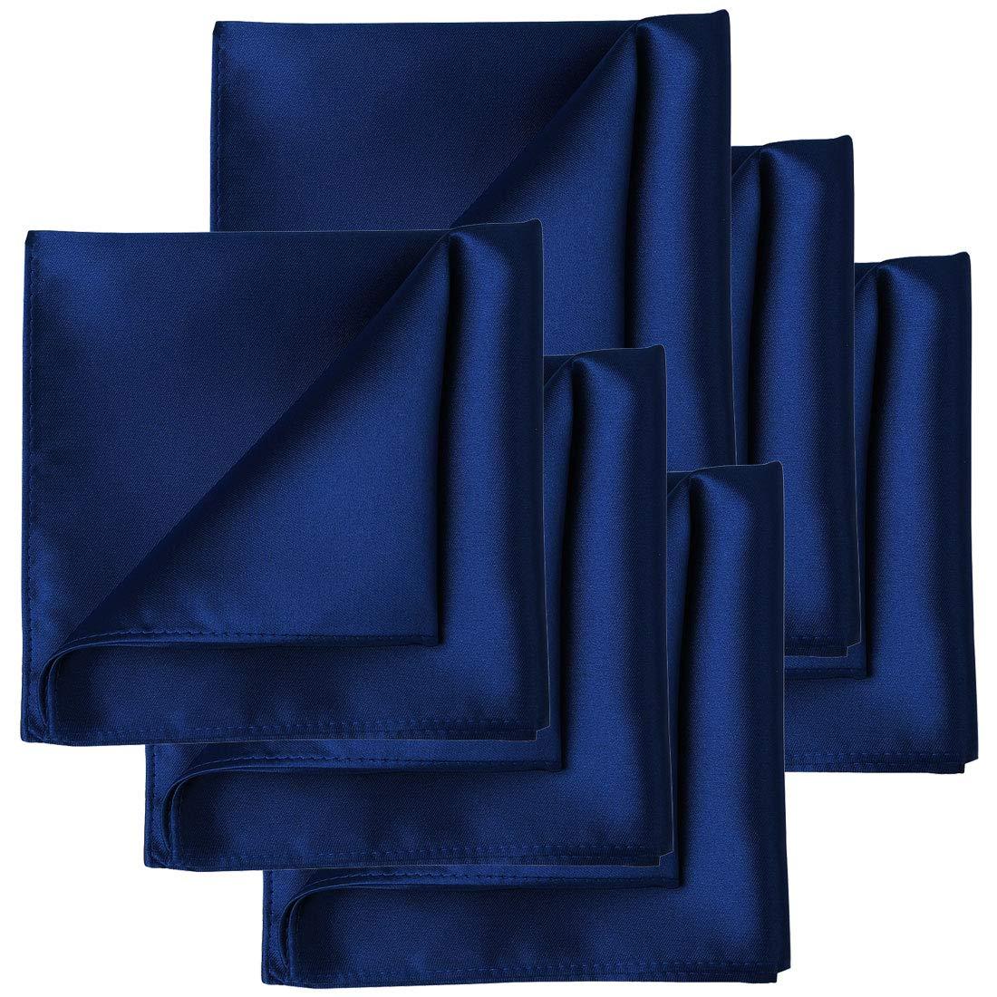 KissTies 6 PCS Navy Blue Satin Pocket Square Solid Color Hankies Gift Set