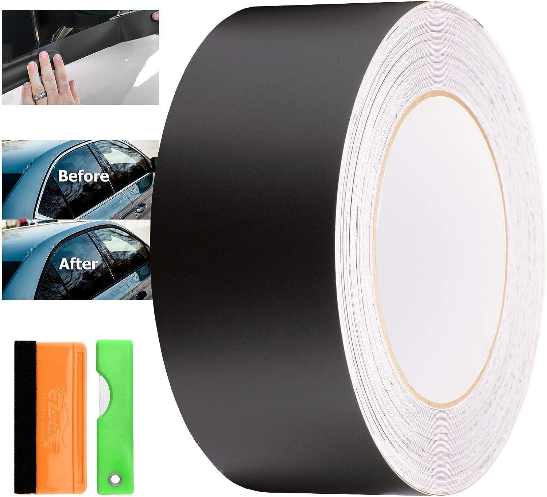 EZAUTOWRAP Free Tool Kit Matte Black Vinyl Wrap Kit for Black Out Chrome Delete Window Trim Door Trim 2 x25Ft